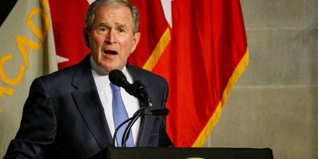 Former U.S. President George W. Bush speaks after being honored with the Sylvanus Thayer Award at the United States Military Academy in West Point, New York, U.S., October 19, 2017. REUTERS/Brendan McDermid