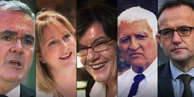 The five crossbenchers: Andrew Wilkie, Rebekha Sharkie, Cathy McGowan, Bob Katter, Adam Bandt