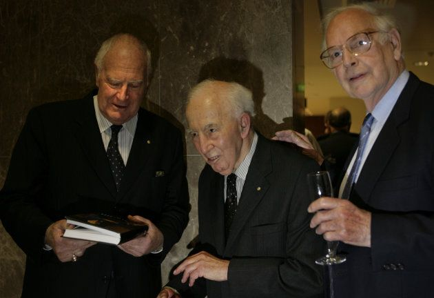Sir Peter Hollingsworth [left], Sir Zelman Cowan and Sir Ninian Stephen at the launch of Sir Zelman's...