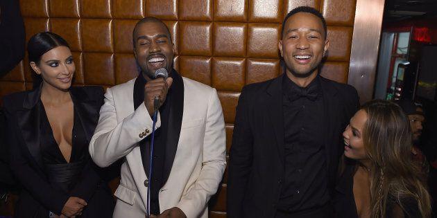 NEW YORK, NY - JANUARY 08: Kim Kardashian, Kanye West, John Legend and Chrissy Teigen attend John Legend...