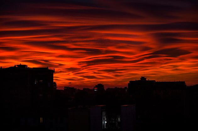 Strange clouds appeared during the Milan sunset, in Italy on 29 October 2017.