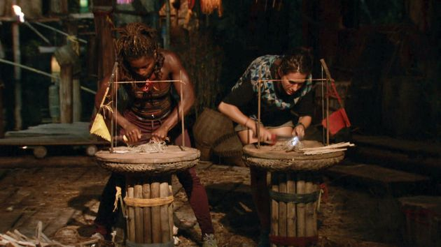 Cydney and Aubry compete in a fire-making challenge for the final episode of Survivor: Kaoh