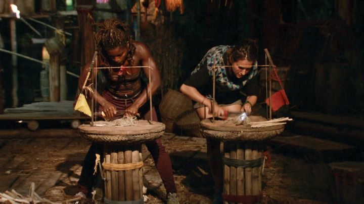 Cydney and Aubry compete in a fire-making challenge for the final episode of Survivor: Kaoh Rong.