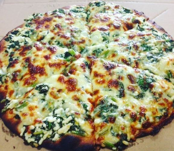 This is the spinach pizza. Gotta go. Need one