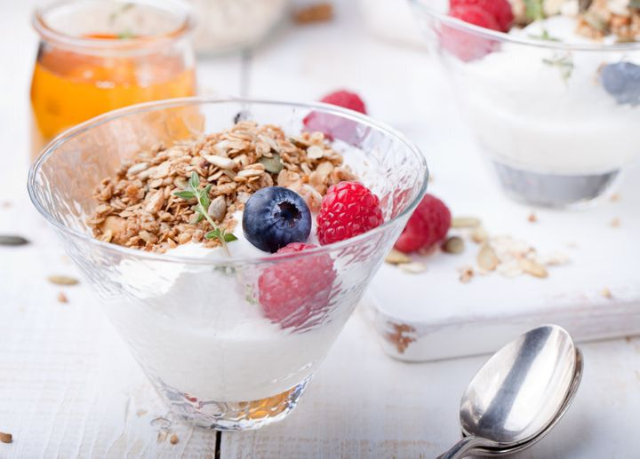 Pair Greek yoghurt with fruit and muesli and you're sorted.