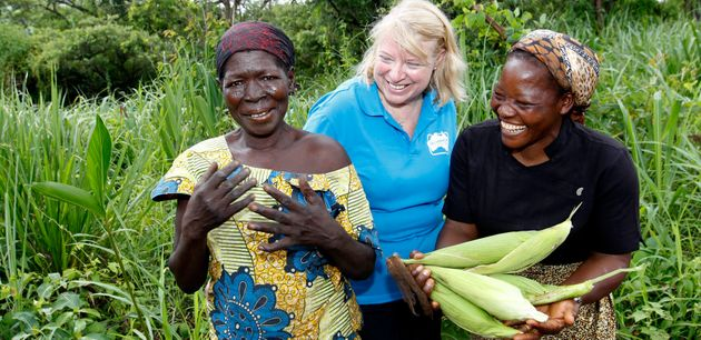 Sister Angélique Namaika (right), pictured with Naomi Steer (centre), helps displaced women through UNHCR-supported...