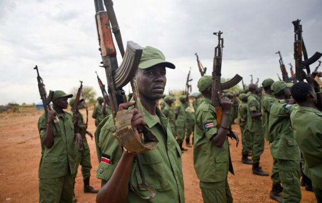 South Sudanese rebel soldiers loyal to First Vice President Riek Machar at a camp in