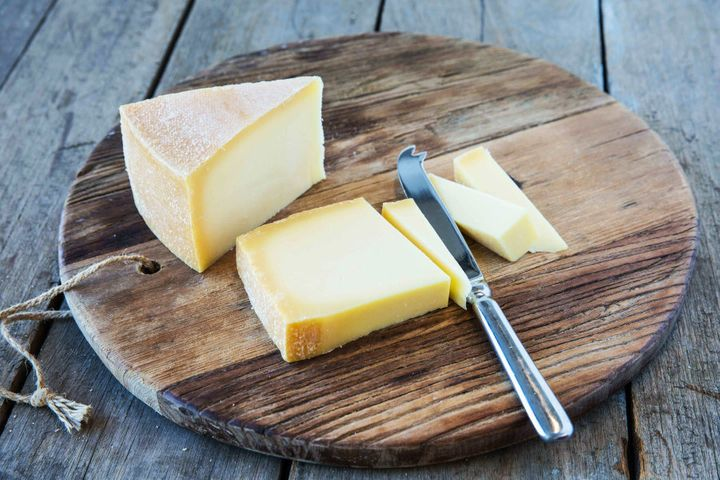 Heidi Farm's Tilsit cheese, a light yellow semi-hard, smear-ripened cheese.