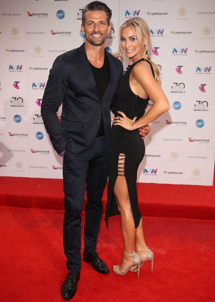 Tim Robards and Anna Heinrich both in black.