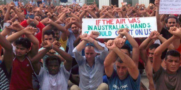 Australian Greens Senator for Tasmania Nick McKim with the Manus Island refugees on Tuesday.