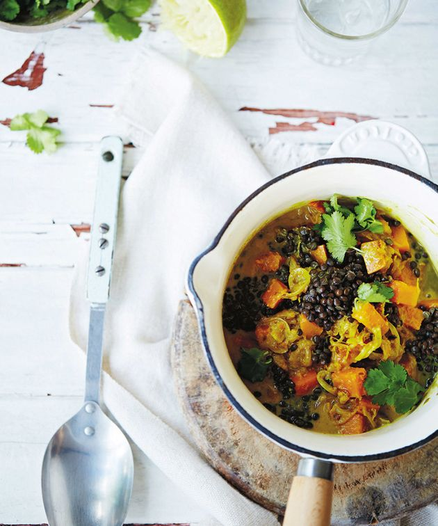 Lentils and sweet potato are full of fibre, helping you to feel full for