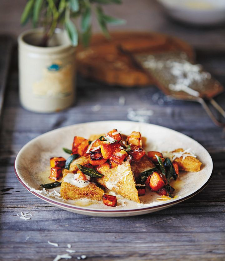 This polenta dish is bright, colourful and perfect for a dinner feast.