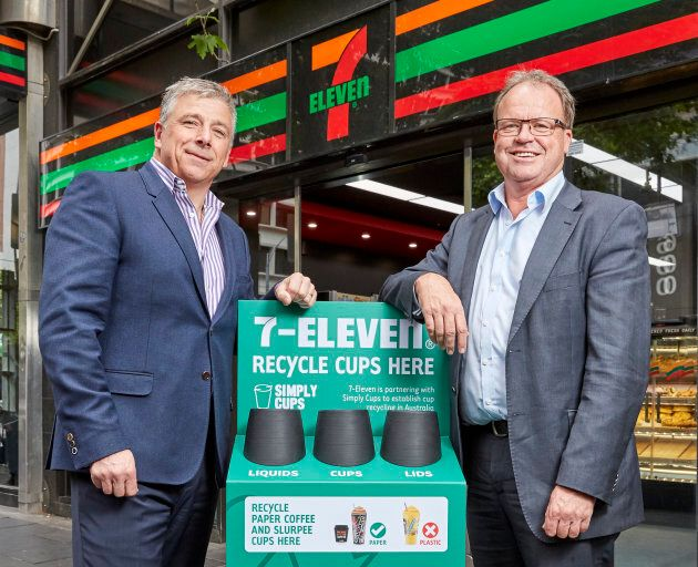 7-Eleven Australia's CEO Angus McKay and Simply Cups founder Rob Pascoe with one of the special recycling...