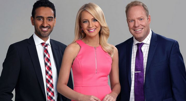 Hosts of The Project, Waleed Ally Carrie Bickmore and Peter Helliar.