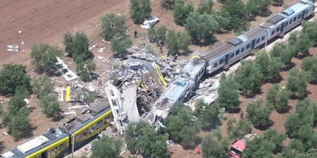 Two passenger trains are seen after a collision in the middle of an olive grove in the southern village of Corato, near Bari, Italy, in this handout pictures released by Italian Firefighters July 12, 2016. Italian Firefighters/Handout via Reuters ATTENTION EDITORS - THIS PICTURE WAS PROVIDED BY A THIRD PARTY. FOR EDITORIAL USE ONLY. TPX IMAGES OF THE DAY