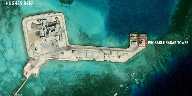 A satellite image released by the Asian Maritime Transparency Initiative at Washington's Center for Strategic...