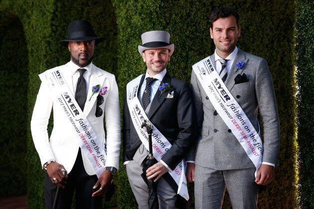 Men's Myer Fashions on the Field winners Gilles Belinga, Neil Carpenter and Alexander Jordan