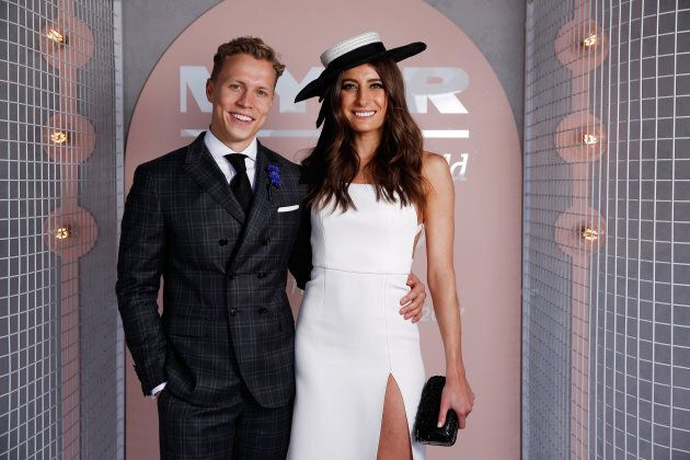 Myer Fashions on the Field Ambassadors Rebecca Harding and Dalton Graham pose at The