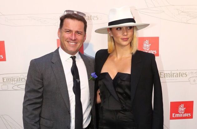 Karl Stefanovic and Jasmine Yarbrough attend the Emirates Marquee on Derby Day.