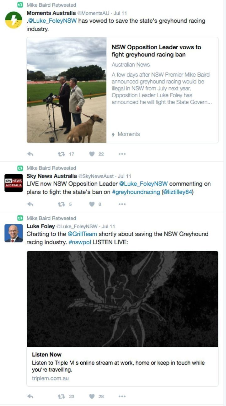 NSW Premier Mike Baird has been retweeting his opponent's opposition to the greyhound racing ban.