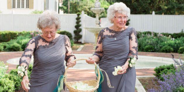 On the right, the bride's 75-year-oldgrandma Joyce. On the left, the groom's 74-year-oldgrandma Drue.