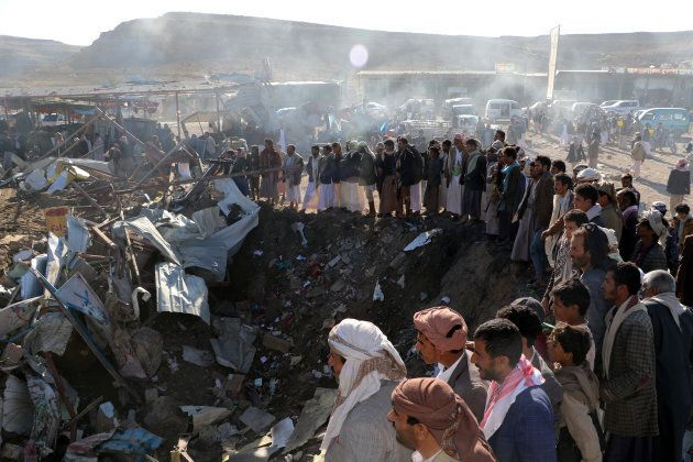 The northwestern city of Saada in Yemen was hit by an airstrike in
