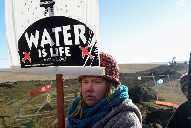 Protesters rally in Cannon Ball, rural North Dakota in attempt to stop the construction of the Dakota...