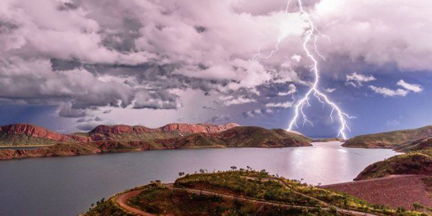 This image of forked lightning over Lake Argyle in the Kimberley, Western Australia, was taken by WA...