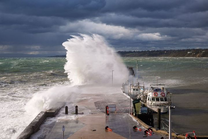 This image of a wave crashing over Mornington Pier in Port Phillip Bay was taken while a strong cold front roared across the bay and southern Victoria.