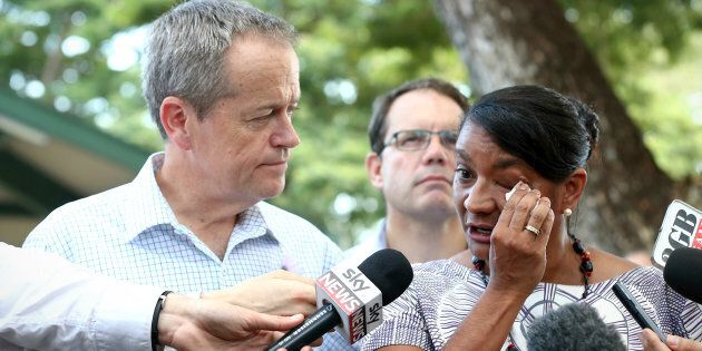 Opposition Leader Bill Shorten with Senator Nova Peris as she announced her retirement from politics in May