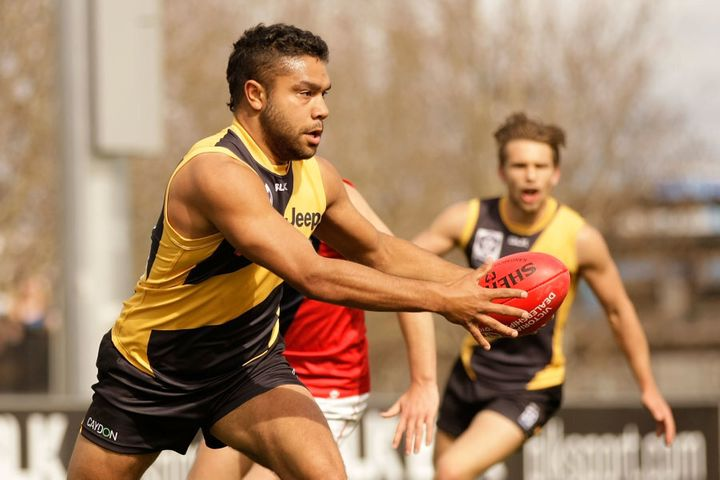 Kirby in August playing for Richmond in the VFL, one level below the AFL.