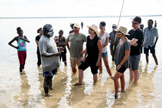 Timmy 'Djawa' Burarrwanga and 'First Contact' participants in East Arnhem Land, Northern