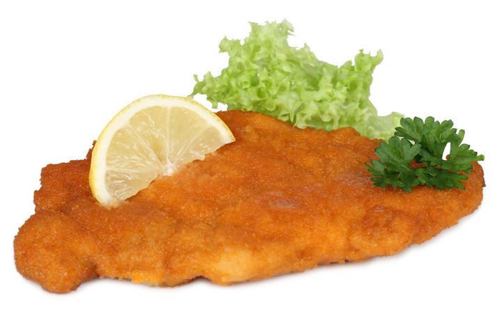 This is the first schnitzel we found in a photo library. Ant's schnitties are way better than this. As for Lewis', we'll have to wait and see.
