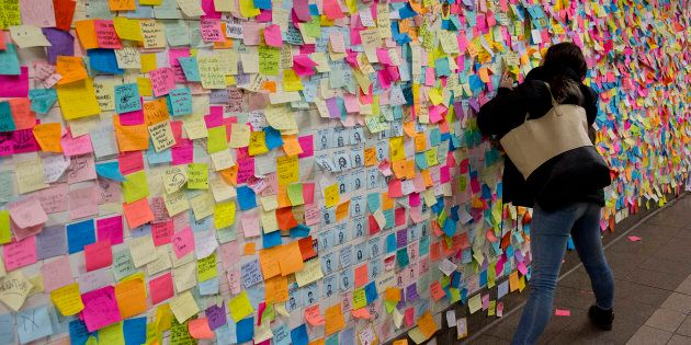 New Yorkers shocked and angered by the unexpected election of Donald Trump as President leave messages...