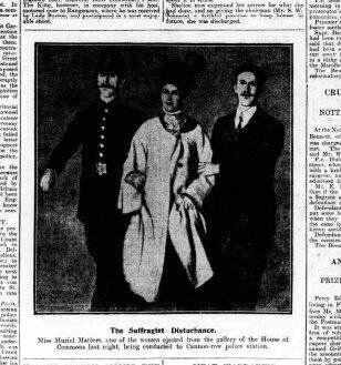 A newspaper article about Muriel Matters' arrest.