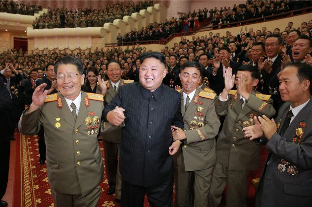 North Korean leader Kim Jong-Un at a performance dedicated to nuclear scientists and technicians, who...