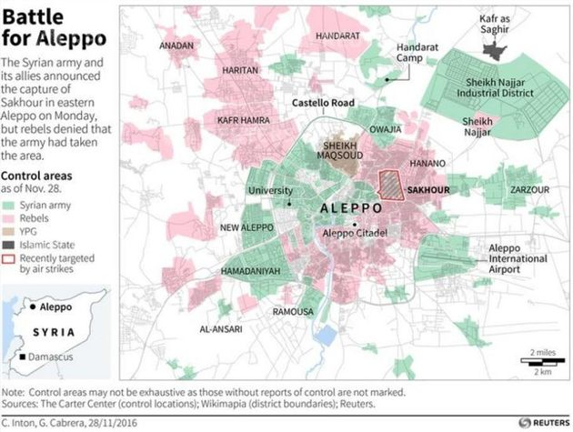 Map of Syria's Aleppo showing reported control areas as collated by The Carter Center, including recent...
