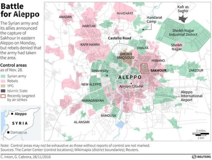 Map of Syria's Aleppo showing reported control areas as collated by The Carter Center, including recent clashes or violence in the city.