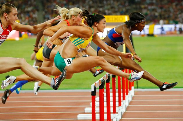 Jenneke in the 100 metres hurdles semi-final at the 2015 World Championships. She missed the final by...