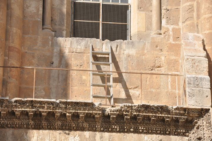 The ladder has only been moved twice in more than two centuries because the six churches who govern the site can't agree on who'll take possession of it