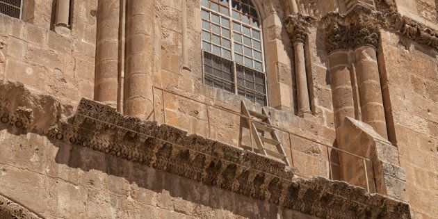 The immovable ladder on the Church of the Holy Sepulchre in the old city of