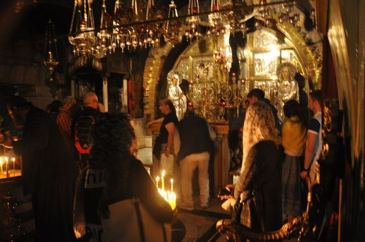 Worshipers inside the Church of the Holy Sepulchre in Jerusalem