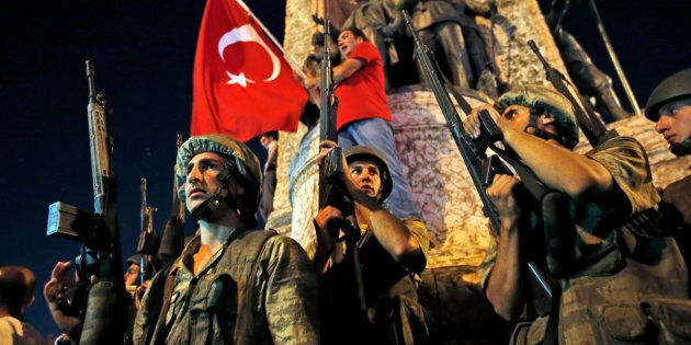 Soldiers have flooded Ankara amid a coup