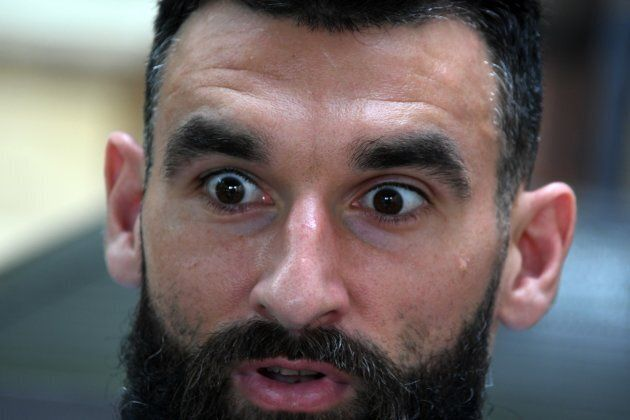 """This is Socceroo Mile Jedinak and it may or may not be the moment when he heard about The Project's """"joke""""."""