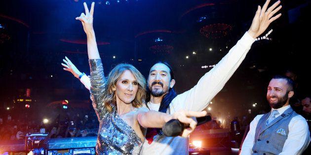 Céline Dion and Steve Aoki at OMNIA Nightclub in Caesars Palace on Nov. 8, 2017 in Las Vegas,