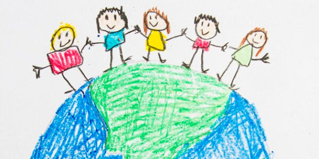 A kids drawing of people holding hands on earth.