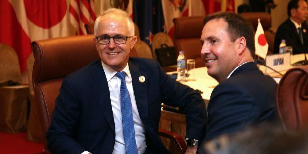 Malcolm Turnbull and Trade Minister Steven Ciobo at