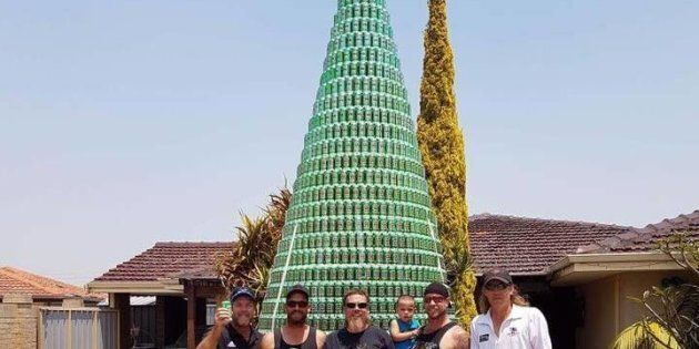 A WA man and his mates have built an Christmas tree out of beer