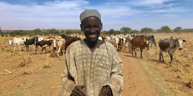 A Fulani cattle herder walks with his cows outside the city of Tillaberi, southwest Niger, about 100km...