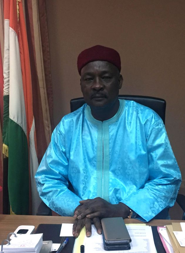 Niger Defence Minister Kalla Mountari poses for a portrait at his office after an interview with Reuters,...